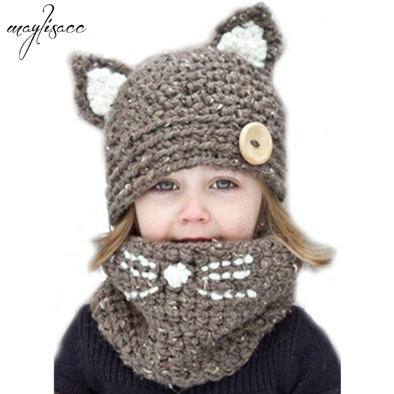4-8 Years Old Kids Knitted Hat Scarf Sets Children Animal Cat Ear Hat Scarf Set Autumn Winter Warm Neck Protective Hat