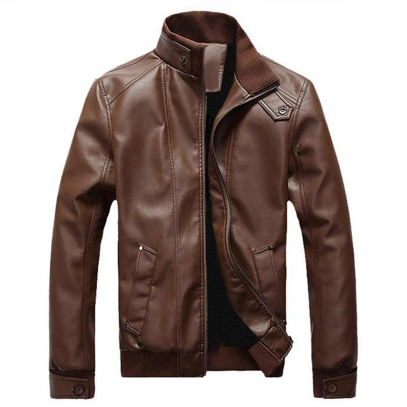 SHUJIN Fashion Spring Male Leather Jacket Plus Size 3XL Black Brown Mens Stand Collar  Coats Leather Biker Jackets