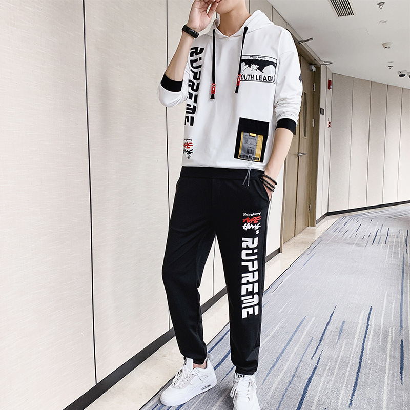 2019 Autumn New Style Men's Leisure Sports Suit Korean-Style Hooded Pullover Hoody Youth MEN'S Suit
