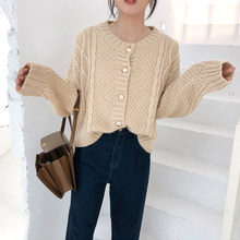 New Spring Women Sweater Casual Female Gold Button Knitted Solid Color Cardigans Thick Knitwear Retro Short Ladies Tops(China)