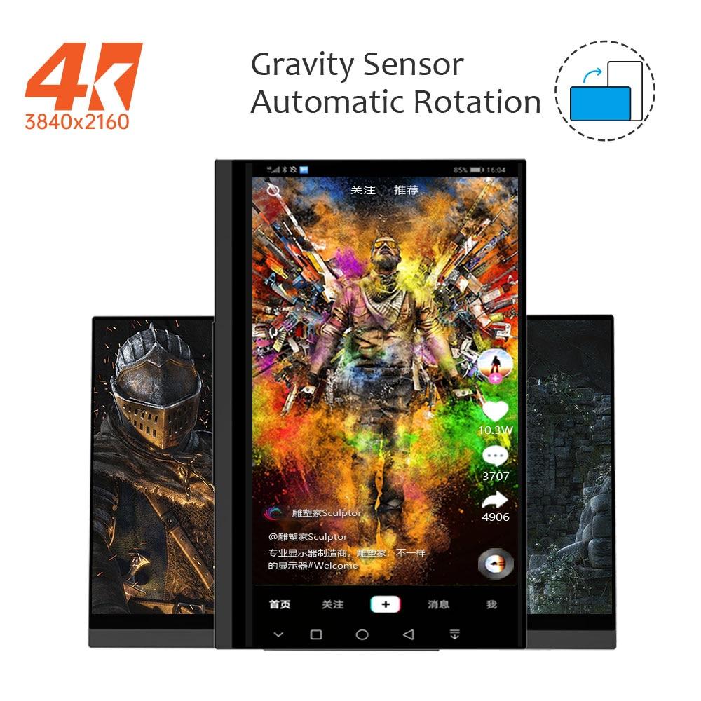 2020 Новейшая 4K Портативный монитор с сенсорным экраном, тяжести Сенсор автоматический поворот 15,6 ''тонкий 10 точек касания UHD 3840x2160 Дисплей