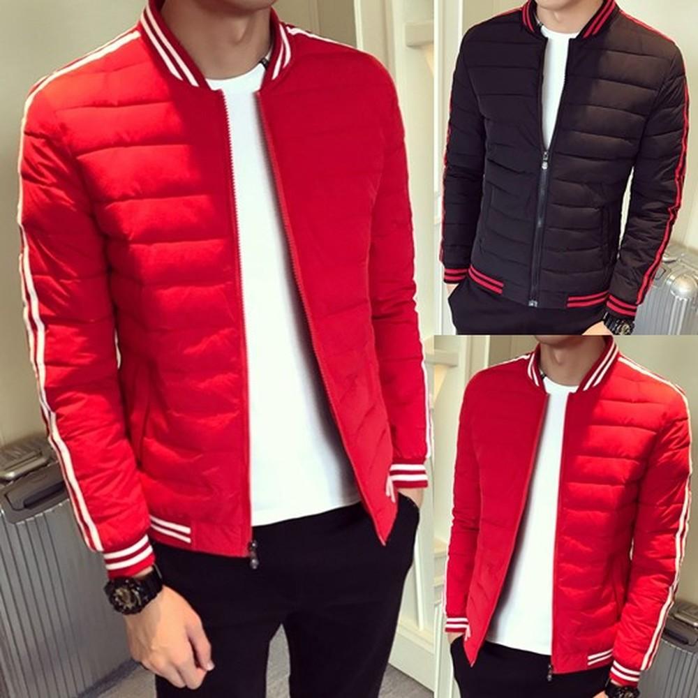Men Stand Collar Long Sleeve Outwear Top Zip Plus Size Winter Puffer Jacket Coat
