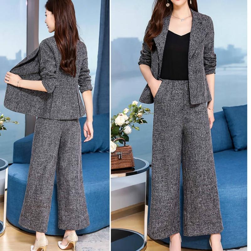 2 Piece Woman Grey Set Blazer Jacket Pants  Female Office Clothes Suit Outfit