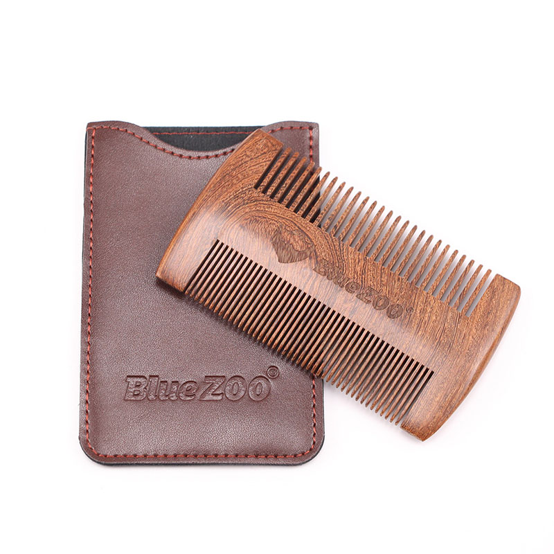 Blue ZOO Double Side Sandalwood Beard Comb Fashion Leather Bag Anti Static Wooden Fine Coarse Teeth Mustaches Beard Brush Comb