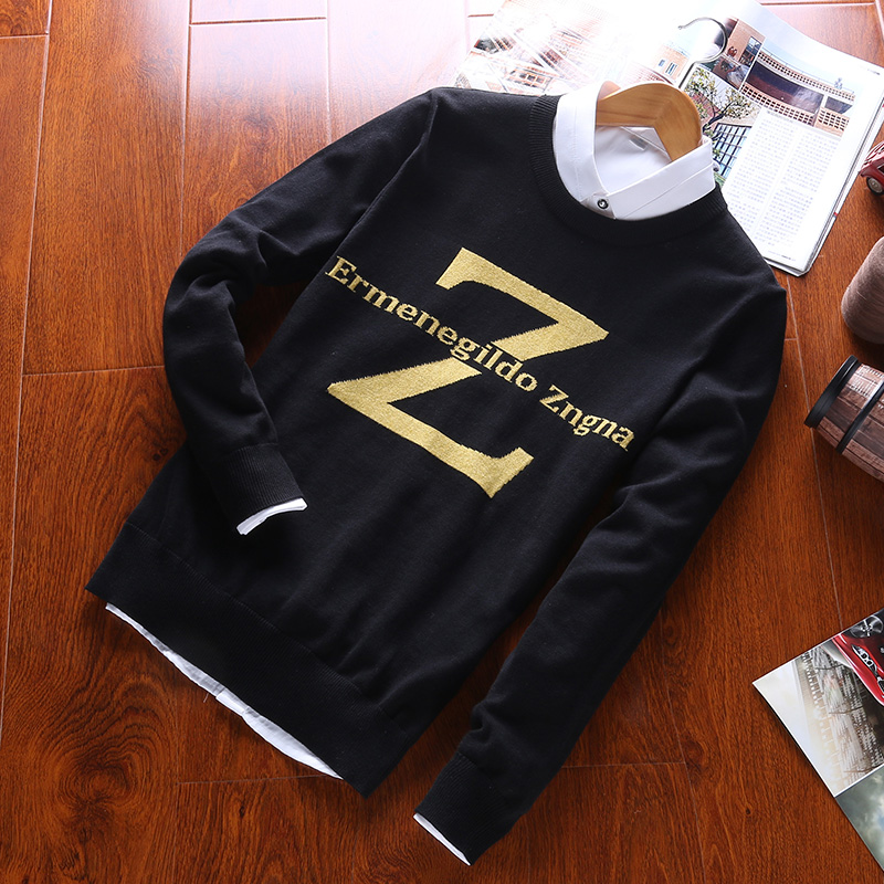 Autumn Winter Men's Cotton Sweater Fashion Letters Round Neck Long Sleeve Sweater(no Shirt)