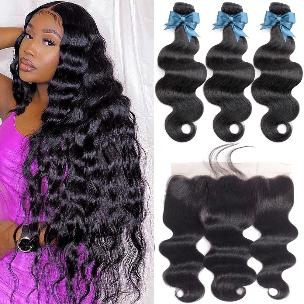 Brazilian Hair Weave Bundles With Frontal 34 36inch Beaudiva Hair Body Wave Human Hair Bundles With Lace Frontal Closure