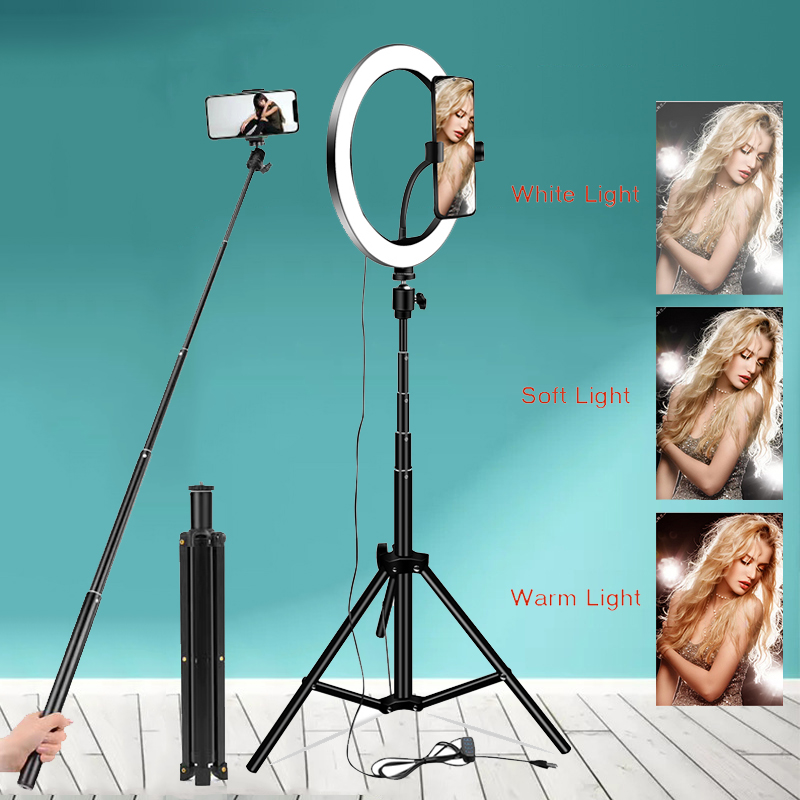 10inch Photography LED Selfie Ring Light with Tripod Stand Camera Photo Studio Circle Ringlight Phone Lamp Makeup Video Youtube