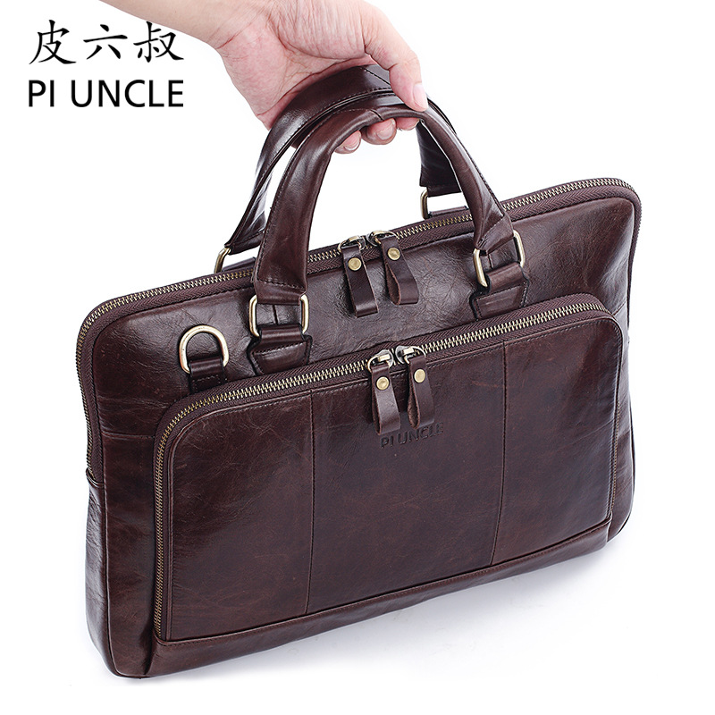 Genuine Leather Men's Bag Briefcase Male 14inch Laptop Bag Natural Leather For Men Messenger Bags Men's Briefcases Handbag