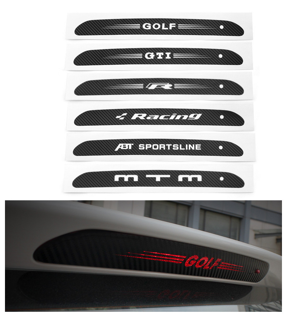 Carbon Fiber <font><b>Stickers</b></font> Decals High Mounted Stop Brake Lamp Light Car Styling For <font><b>GOLF</b></font> <font><b>6</b></font> 7 MK6 MK7 POLO Tiguan image