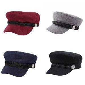 Fashion black Hat Winter Cap Wool Hat Women Button Cap Casual Street wear rope flat Cap Elegant Solid Autumn