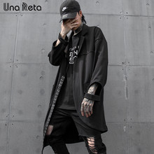 Una Reta trench Coat Men New Harajuku Rivet design Windbreaker Overcoat Male Casual Outwear Hip Hop Streetwear Hooded Cloak Coat(China)
