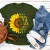 Plus Size 5XL New Fashion Pink Tee Shirts Short Sleeve O Neck Sunflower Letters for Women New Tshirts Casual Tops Shipping 2