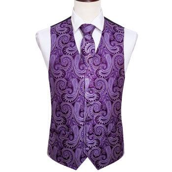 Designer Mens Classic Black Paisley Jacquard Folral Silk Waistcoat Vests Handkerchief Tie Vest Suit Pocket Square Set Barry.Wang 15