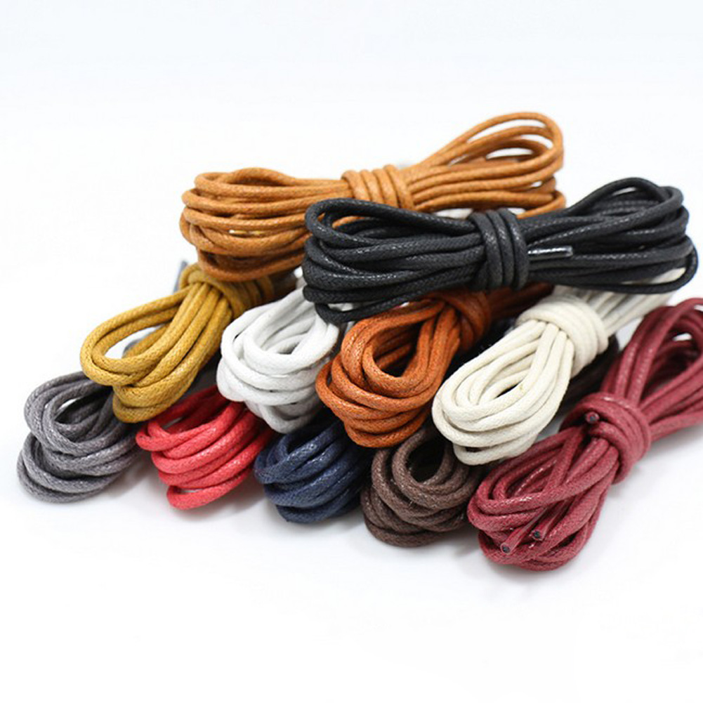 1 Pair Solid Color Waxed Cotton Round Shoelaces Fashion Classic Unisex Waterproof Leather Shoe Laces 80cm 120cm Free Shipping