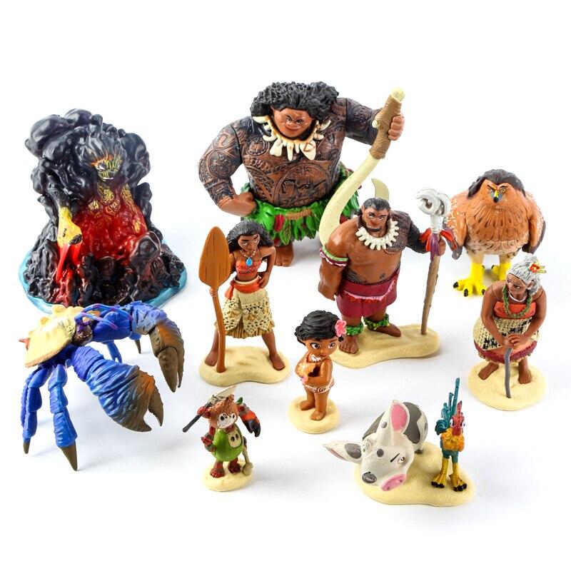 Moana Action Figures Set Maui Tamatoa Tui Sina Heihei Pua Tala Kakamora Anime Dolls Model Toys Children Birthday Gift
