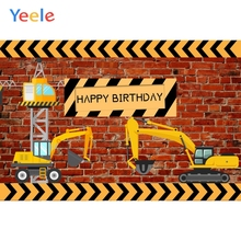 Yeele Photozone for Baby Tractor Excavator Brick Wall Birthday Party Photography Background Photographic Backdrops Photo Studio 60x84 inches flowers theme photography backdrops party background for wedding baby birthday decoration photo wall studio props