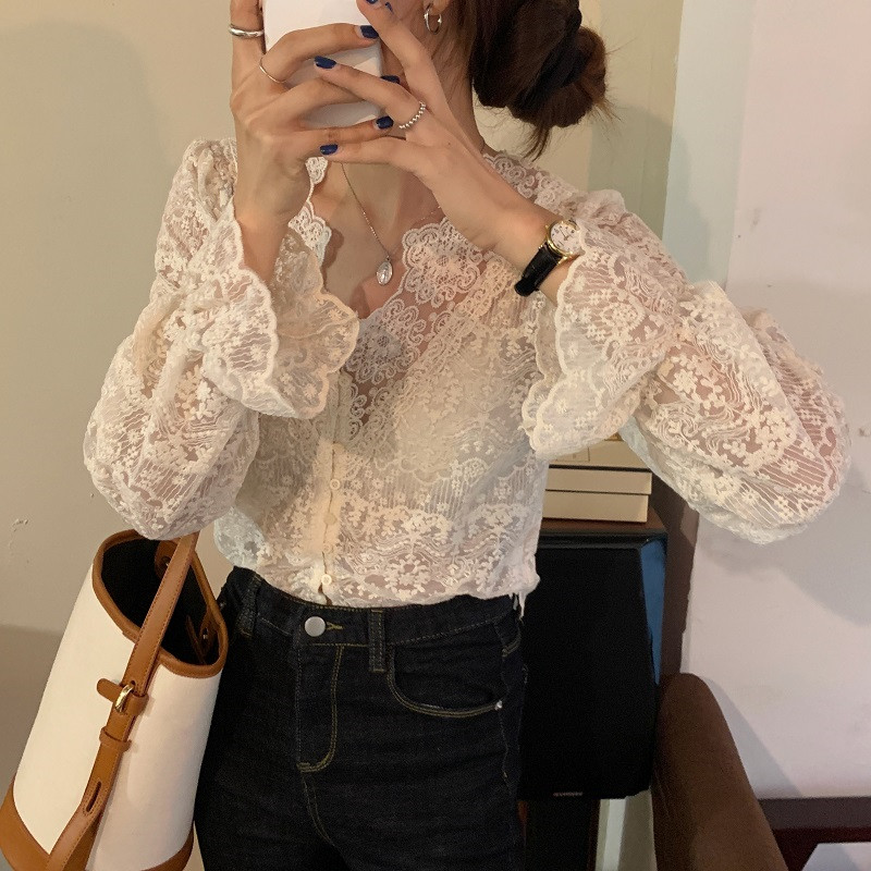 Hbeaf8fe16350460bb42aa76eafc0ca031 - Spring / Autumn V-Neck Long Sleeves Floral Lace Blouse