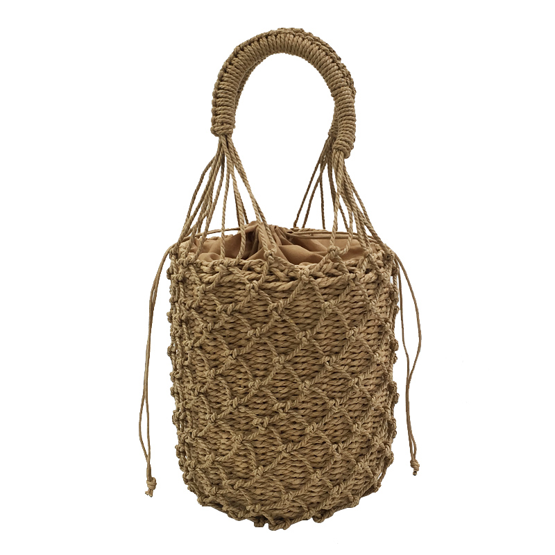 2 Pcs Woven Women Handbag Female Straw Mesh Bag Bohemian Summer Beach Bags Handmade Bucket Net Bag Rattan Knitted Vacation Tote