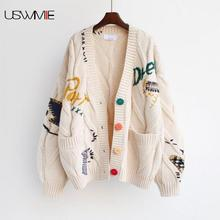 Cardigan Women Autumn Winter Outwear Lazy Sweater Embroidery Long Sleeve V-neck Single-breasted Warm Fashion Loose Lady Coat