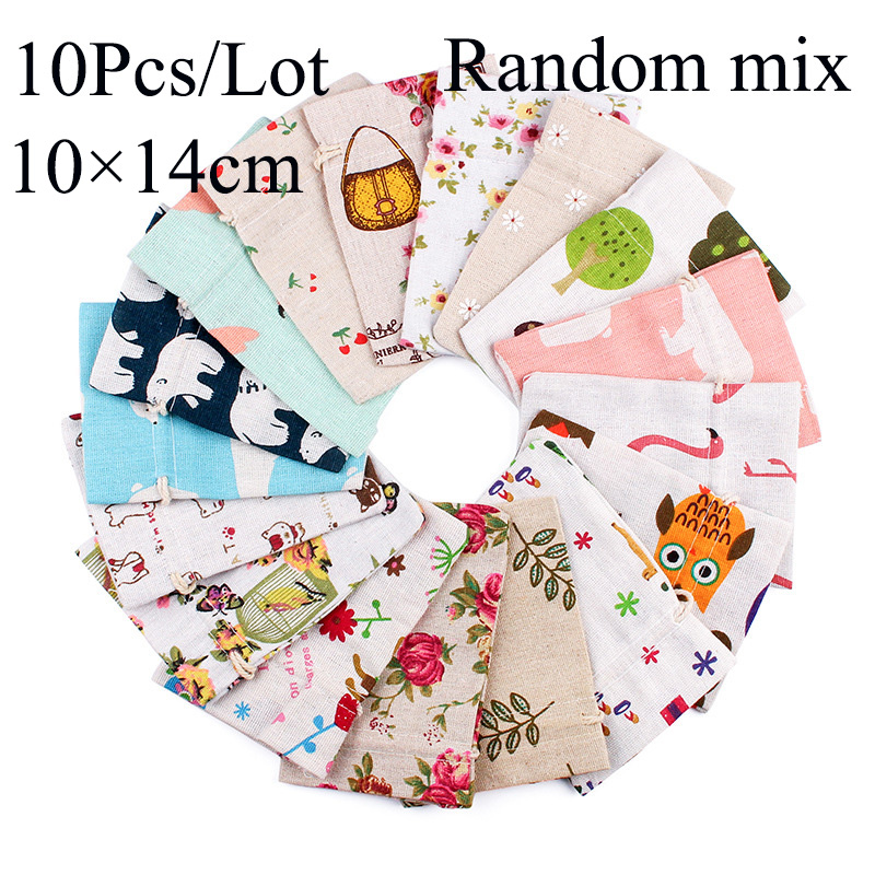 10Pcs/Lot 10x12/10x14cm Random Mix Design Cotton Drawstring Bag Aroma Pouch Kids Snack Pouch Bag Natural Cotton Vintage Bag