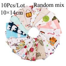 10Pcs/Lot 10x12/10x14cm Random Mix Design Cotton Drawstring bag Aroma Pouch Velvet Pouch bag Natural Burlap Vintage Bag