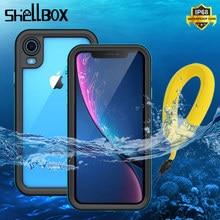 SHELLBOX IP68 방수 케이스 아이폰 11 프로 맥스 X XS 최대 지우기 360 Shockproof 커버 케이스 아이폰 XR 8 7 플러스 전화 케이스