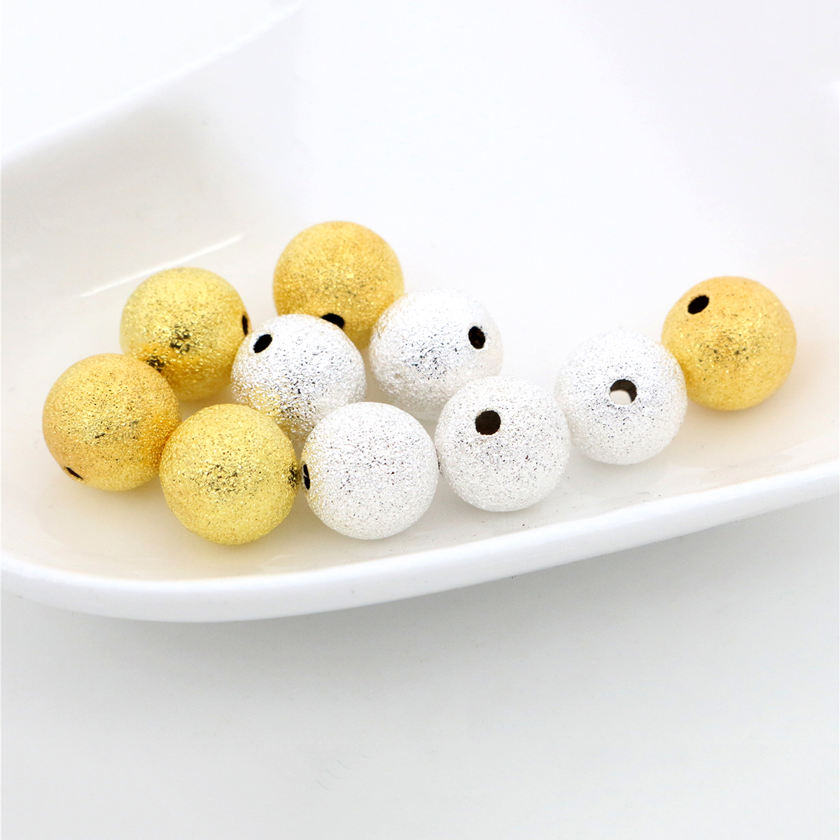 50pcs/Lot 6/8/10mm Silver Plated Gold Color Round Spacer Beads Frosted Ball End Seed Beads For Necklace Bracelet Jewelry Making