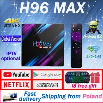 Android 9.0 TV Box H96 MAX Smart TV Box RK3318 Android 9.0  4GB RAM 64GB ROM 4K Media Player Netflix Youtube 1year lifetime iptv