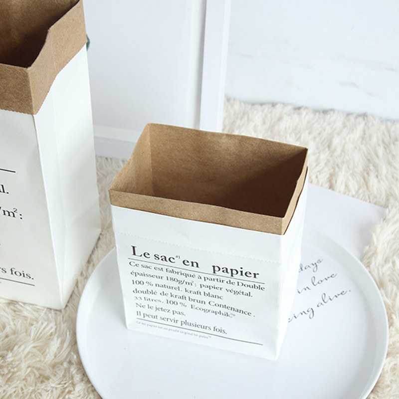 Creative Nordic Wind English Kraft Paper Storage Bag Paper Bag Home Sundries Dried Flowers Decorative Photo Ornaments J0249