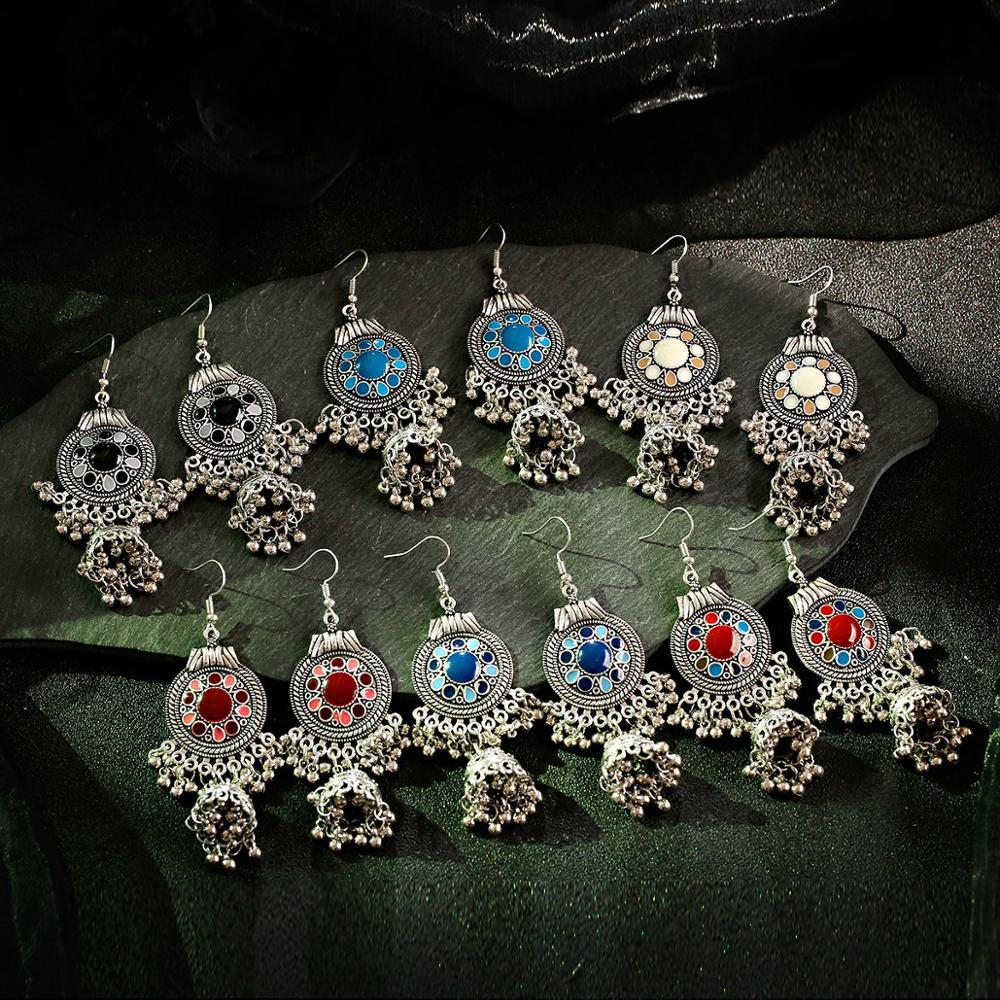 TopHanqi Gypsy Jewelry Retro Ethnic Silver Indian Jhumka Small Bells Oil Drop Tassel Earrings for Women Bohemian Pendiente Gift