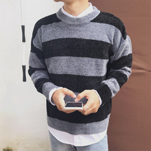 Mens Stripes Sweater 2019 Colorblock Knitted Pullovers Autumn and Winter Casual Sweaters for Men Round Neck Clothes