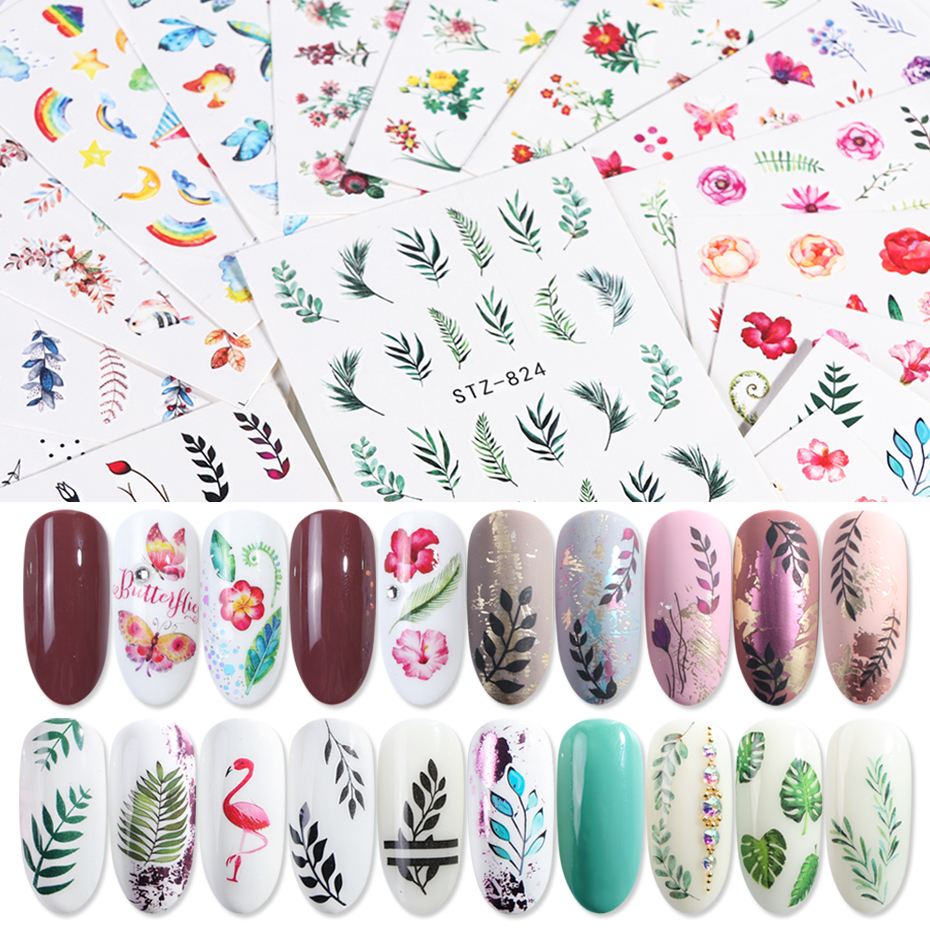 29pcs Nail Sticker Water Flower Flamingo Decals Sticker Lots Nail Art Tattoo Summer DIY Full Slider Manicure Decorations LE764
