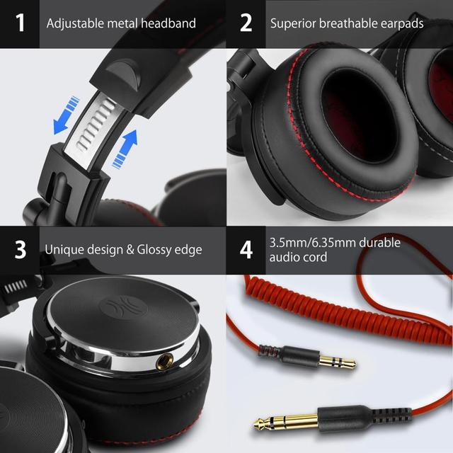 Oneodio profissional dj studio com fio monitores de fone ouvido sobre a orelha gravação fones estéreo para o telefone computador 4