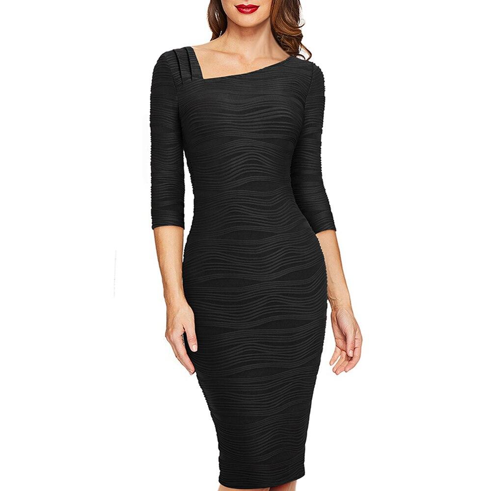 Mulheres de outono Cor Sólida Casuais Escritório de Negócios Vestido Elegante Luva Dos Três Quartos Bodycon Vestido Trabalho EB461 Vestidos     - title=