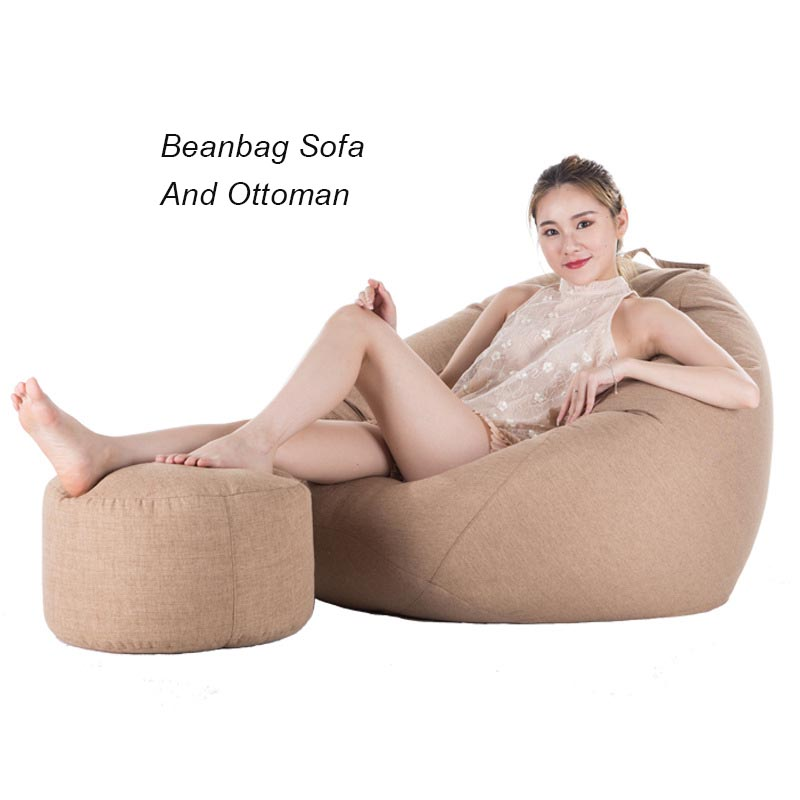 Beanbags Sofa Chairs Cover And Ottoman Lazy Bag No Filler Bedroom Chair Living room Furniture Puff Asiento Pouf Footstool Tatami