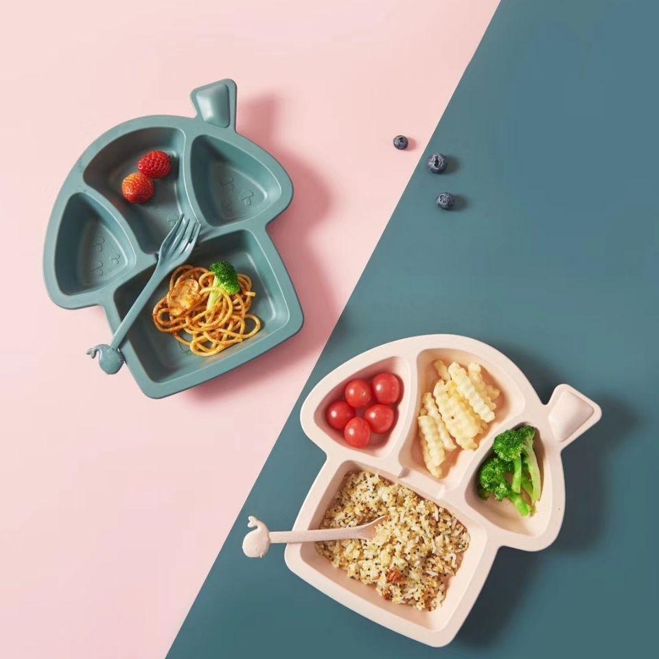6 шт./компл. детская посуда с мультяшным динозавром, детский набор посуды, домашняя антигорячая тренировочная тарелка из пшеничной соломы, детские блюда для кормления 3