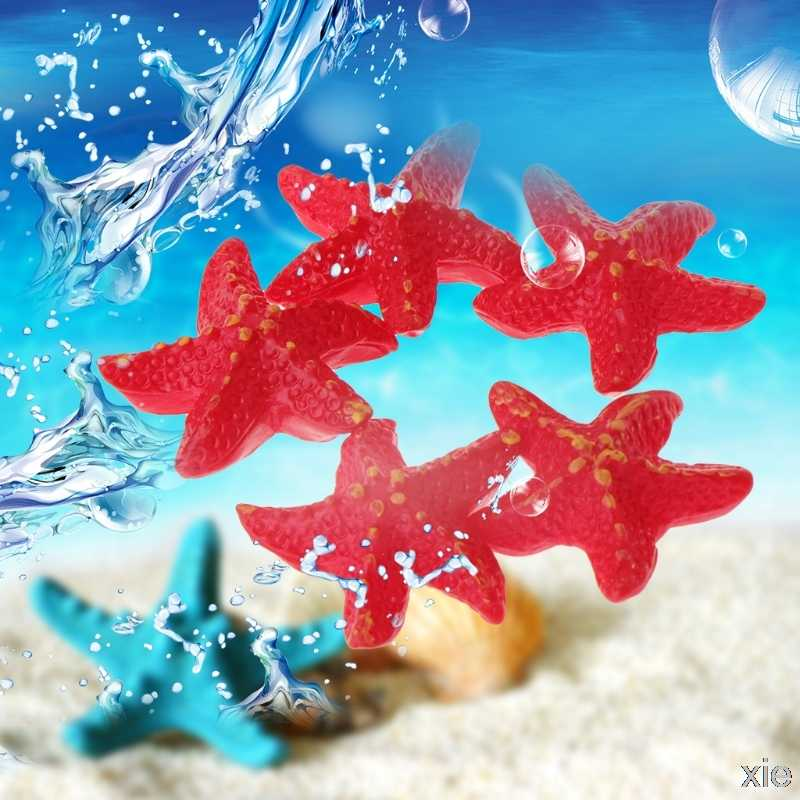 5pcs Fish Tank Artificial Starfish Decor Glow In Dark Aquarium Ornaments Resin
