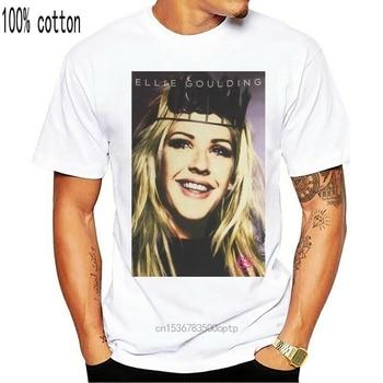 Ellie Goulding Headband Pic Tour 2014 White T Shirt New Merch Short-Sleeved Tee Shirt 1