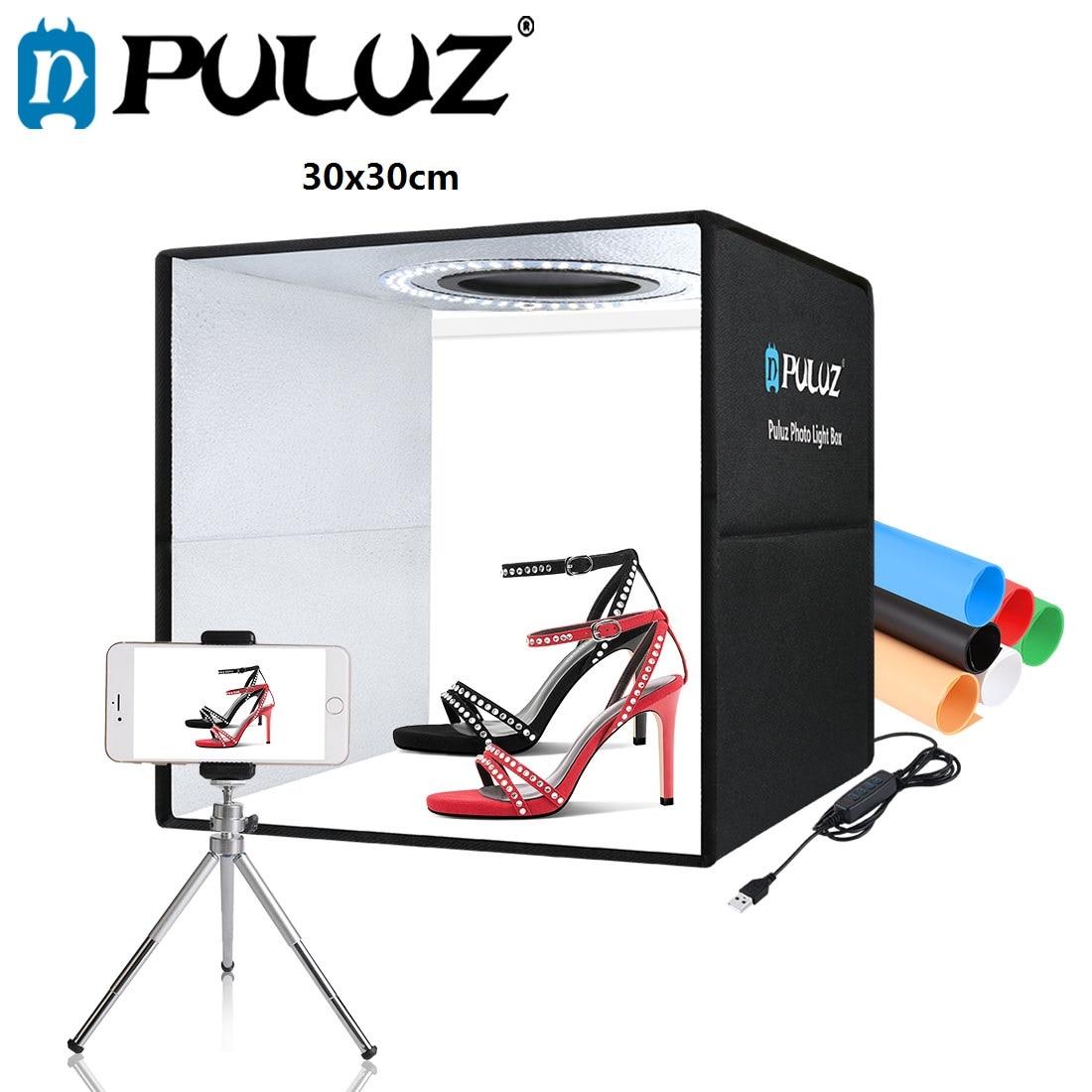 PULUZ 30cm Lightbox Mini Foldable Photo Studio Box LED Light Box Photography Studio Shooting Tent Box Kit & 6 Color Backdrops