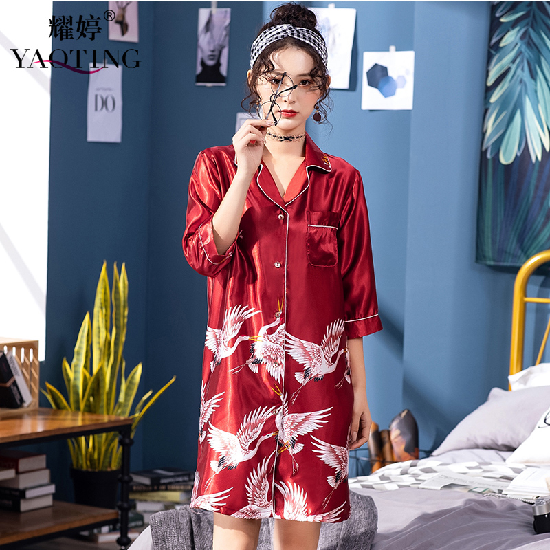 YAO TING 2019 Nightdress Women Knee Length Skirt Spring Summer Autumn Comfortable Soft Gray Wine Red Red-crowned Crane