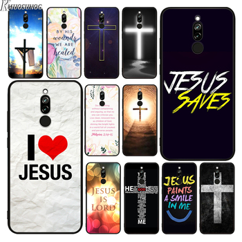 Black Cover For Redmi Note 9 9S Max 8T 8 8A GO 6 Pro Biblical scriptures Jesus Christ For Xiaomi 10 CC9 A3 Lite Phone Case image