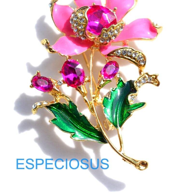 Элегантная булавка золотого цвета для женщин, подарки фиолетового цвета, цветок, стразы, брошь для груди, аксессуары, ювелирное изделие, окрашенная металлическая брошь, одежда