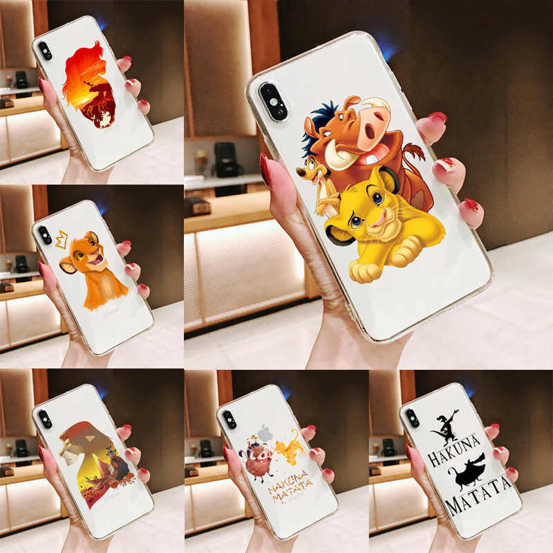 The Lion King Simba Pumba Hakuna Matata Lembut Silicone Ponsel Case untuk iPhone 11 11Pro 5 5S SE 6 6S 6 7 8Plus MAX XS XR X 10 Cover
