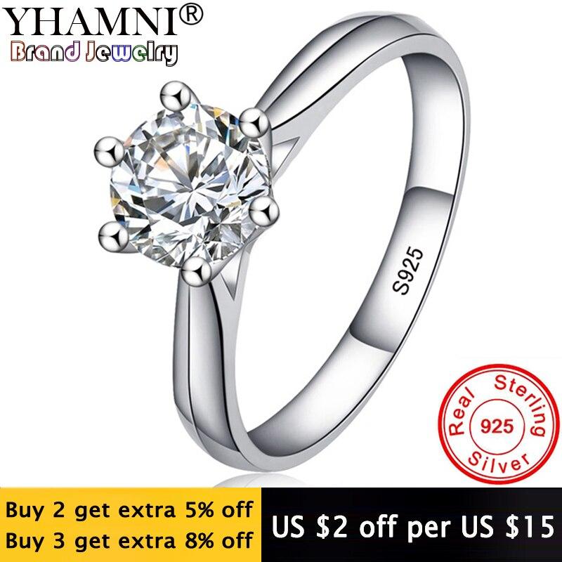 Perder dinheiro 98% de desconto! Jóias finas original natural 925 anéis de prata solitaire 6mm 1ct sona cz pedra anéis de casamento para mulher rl003