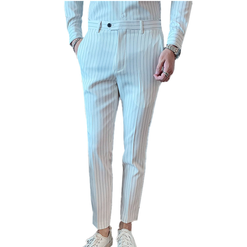 White Mens Striped Suit Pants Business Casual Pants 2020 Autumn Pants Men White Black Red Gray High Quality Pant