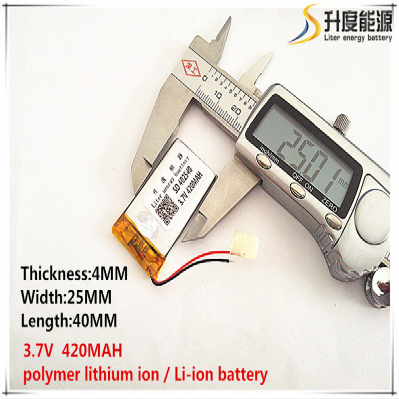 5pcs [SD] 3.7V,420mAH,[<font><b>402540</b></font>] Polymer lithium ion / Li-ion battery for TOY,POWER BANK,GPS,mp3,mp4,cell phone,speaker image