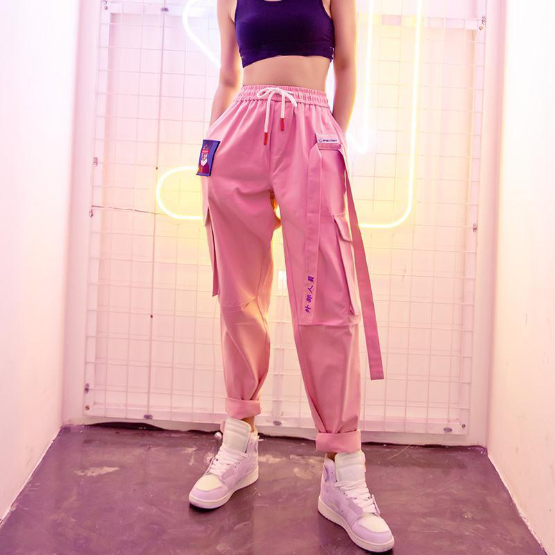 Cargo-Pants Sports-Trousers Patchwork Lace-Up Streetwear Harajuku Hip-Hop Female Straight title=