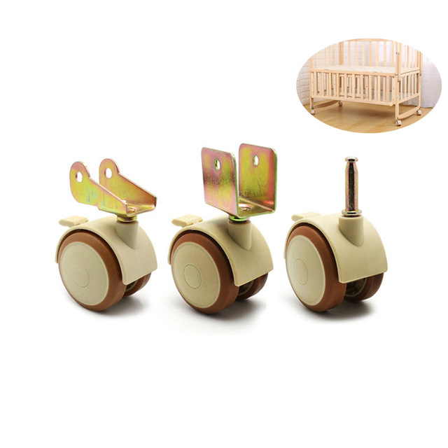 4Pcs 2 Furniture Crib Swivel Casters Cabinet Clamp with Brake Wheels Nylon Furniture support leg for Chairs Baby Bed Trolley