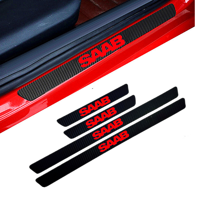 4PCS Car Styling Carbon Fiber Door Sill Protector Stickers For Saab 93 95 Saab 9-3 9-5 900 9000 Protection Sticker