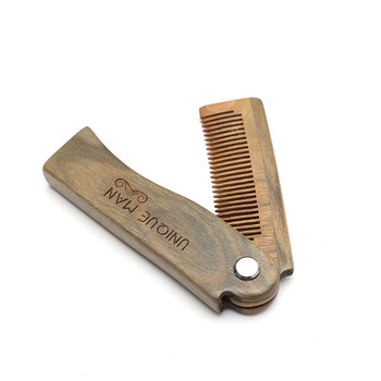 Natural Green Sandal wood Fold Comb Hair Comb For Men Beard Care  Anti-static Wooden Comb Hair Care Tools Hair Brush 1pc 6